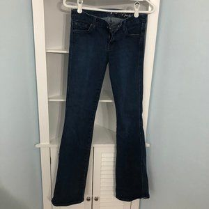 "7FAM bootleg jean, size 26, ""A Pocket"" style"